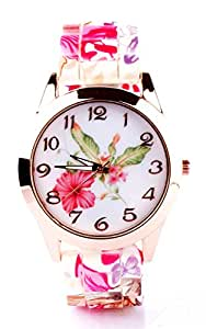 Joker & Witch Floral Silicone Analog White Dial Women's Watch (Amwww68)