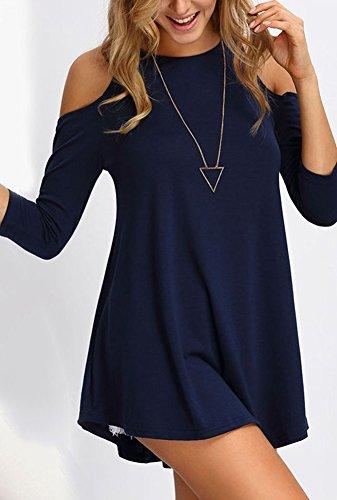 LaoZan Damen Rundkragen Off Shoulder Tunika Tops Bluse Lange T-Shirt Marineblau