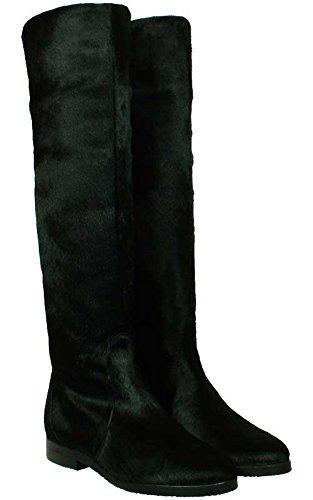 Boots Taschkent- kniehohe Schaft-Stiefel aus echtem Fell in schwarz