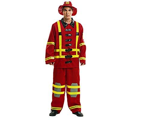 (My Other Me Herren Kostüm Feuerwehrmann (viving Costumes) S rot)