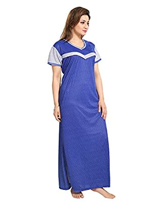 TUCUTE Women's Dotted Print (Blue) Feeding/Maternity / Nursing Nighty Style: 1253