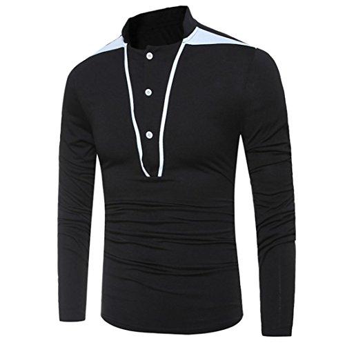 Uomo Tops,Amlaiworld Patchwork camicia manica lunga pulsante camicetta per uomo Nero