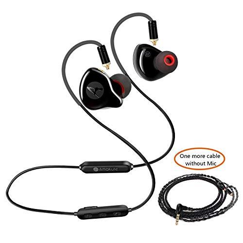 2-in-1-In-Ear-Kopfhörer, kabellos, kabellos, Bluetooth-Kopfhörer, MMCX abnehmbares Kabel + Bluetooth-Kabel, 3 Ohrstöpsel + Reisetasche (schwarz) (Wireless Kopfhörer-monitor)