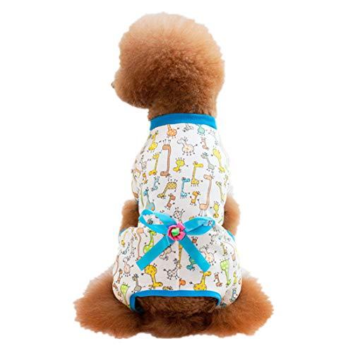 PZSSXDZW Neu Pet Kleidung Lässiger Hausdienst Hundebekleidung Vierbeiniger Baumwolldruck Teddy Kleiner Hund Haustier-Pyjamas Blue X-Large