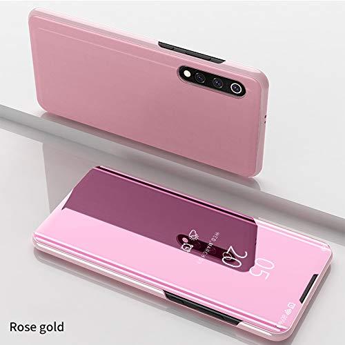 Funda para Xiaomi Mi 9 Estuche Espejo Elegante Cover de Función Inteligente Case para Dormir Despertar Vista Inteligente Carcasa para Xiaomi Mi 9(Oro Rosa)