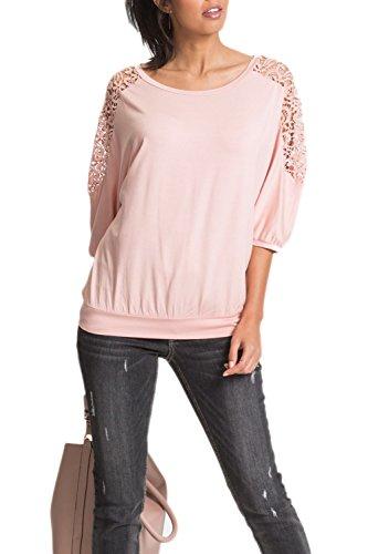 YACUN Le Donne Svuotare 3/4 Manica Occasionale In Camicia Al Massimo Pink