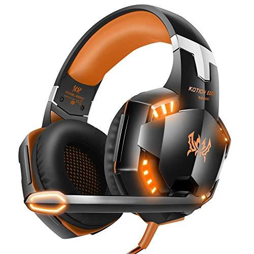 EACH G2000 Cuffie da Gioco Gaming Headphone con Microfono Stereo Bass LED Luce Regolatore di Volume per PC 2 jack (mic e altoparlanti) Arancione
