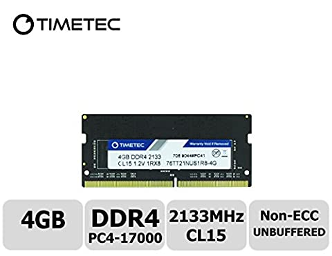 Timetec Hynix IC 4GB DDR4 2133MHz PC4-17000 Unbuffered Non-ECC 1.2V CL15 1Rx8 Single Rank 260 Pin SODIMM Laptop Notebook Computer Memory RAM Module Upgrade