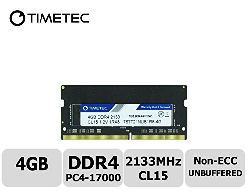 Timetec Hynix IC 4GB DDR4 2133MHz PC4-17000 Unbuffered Non-ECC 1.2V CL15 1Rx8 Single Rank 260 Pin SODIMM Laptop / Notizbuch Arbeitsspeicher Module Upgrade (4GB)