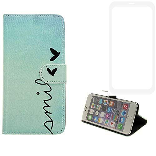 K-S-Trade® Für Vestel V3 5580 Dual-SIM Hülle Wallet Case Schutzhülle Flip Cover Tasche Bookstyle Etui Handyhülle ''Smile'' Türkis Standfunktion Kameraschutz (1Stk)