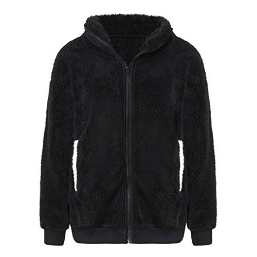 KOKOUK Women Hooded Sweatshirt, Christmas Cute Bear Ear Panda Winter Warm Hoodie Coat Women Hooded Jacket Outerwear (Black) Youth Zip-front Hoodie