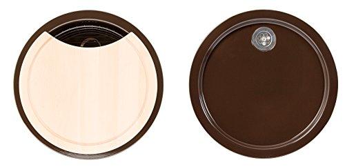 Rieber Einbauspüle Set E 39 mocca, Küchenspüle MADE IN GERMANY korrosionsbeständig & lichtecht Emaillierte Spüle 1 Becken und 1 Tropfmulde je ø 451 mm Spülbecken rund