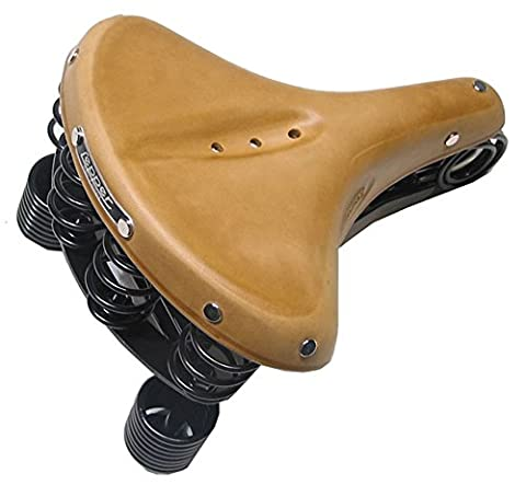 Lepper Primus Herren Fahrrad Sattel Kernleder Fahrradsattel Leder Vintage Retro Gefedert, Farbe natur