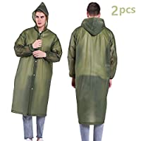 Luoistu Reusable Rain Ponchos, EVA Waterproof Raincoat with Drawstring Hood and Long Sleeves; Emergency Poncho (145cm / 57inch) for Travel, Festivals, Theme Parks and Outdoors 6