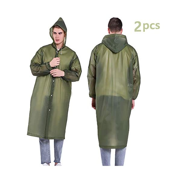Luoistu Reusable Rain Ponchos, EVA Waterproof Raincoat with Drawstring Hood and Long Sleeves; Emergency Poncho (145cm / 57inch) for Travel, Festivals, Theme Parks and Outdoors 1