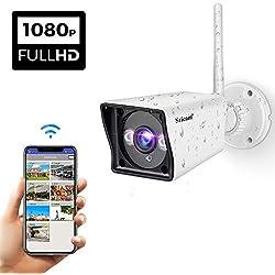 Sricam WiFi Cámara IP HD de Seguridad al Aire Libre Interior, hogar 1080P Seguridad inalámbrica Cámara a Prueba de Agua, admite la grabación en Tarjeta microSD/teléfono Inteligente/PC con Windows