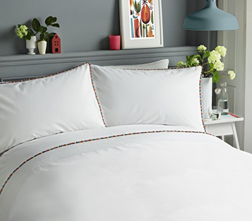Serene - Pom Pom - Pintucks Horizontal Rows Duvet Cover Set - Double, Multicolour Best Price and Cheapest
