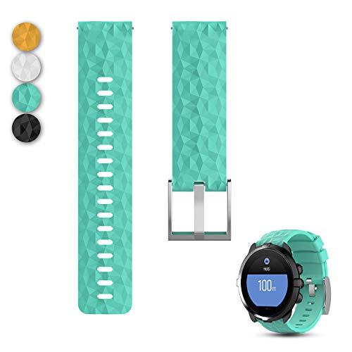 """Feskio Ersatz-Uhrenarmband aus weichem Silikon für Suunto Spartan Sport Wrist HR Baro Strap Suunto 9 Baro Watch, blaugrün, 5.8\""""-8.5\"""""""