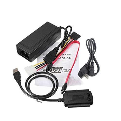 Ide Übertragungsrate (CHOULI USB 2.0 zu IDE SATA 2.5 3.5 Festplattenkonverter-Kabelsatz mit Netzteil US Black)