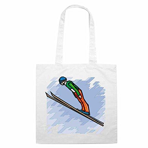 Tasche Umhängetasche Motiv Nr. 4492 Skispringen Apres Ski Wintersport Mega Sport Einkaufstasche Schulbeutel Turnbeutel 3