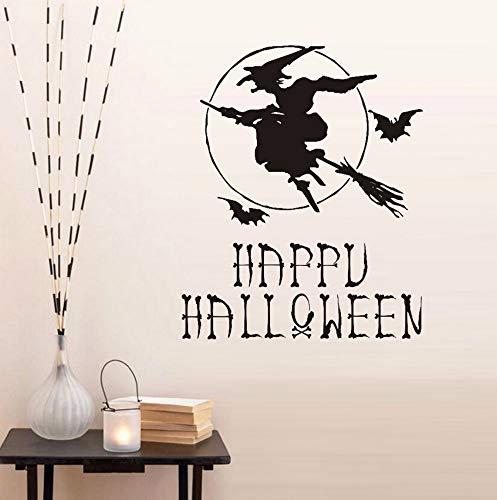 Happy Halloween Hexe Besen Fledermäuse Wandaufkleber Aufkleber Poster Home Decor Vinyl Kunstwand Wohnzimmer Schlafzimmer Halloween Dekoration 48 * 59 cm