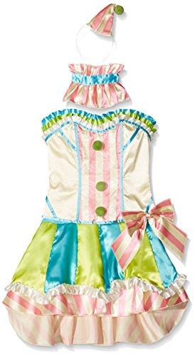 (Fever, Damen Vintage Clown Kostüm, Korsett, Rock mit Unterrock, Kragen und Mini Hut, Größe: S, 45367)