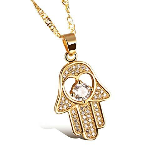AnazoZ Damen Zirkon Anhänger 18K Gold vergoldet Halskette Modeschmuck