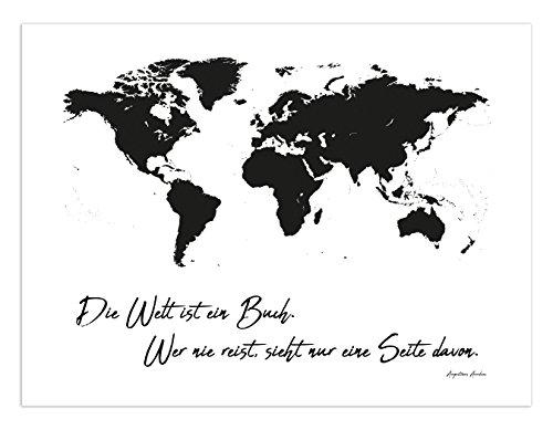 PICSonPAPER Leinwanddruck Weltkarte Die Welt ist EIN Buch. Wer nie Reist, Sieht nur eine Seite Davon, 40 cm x 30 cm auf Holzkeilrahmen aufgezogen (Leinwand 40 cm x 30 cm)