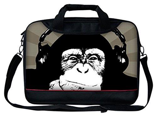 """Luxburg® 13""""-17pulgadas–Funda de piel correa para el hombro para ordenador portátil bolsa de transporte con asa. Diferentes Diseños y tamaños disponibles. mono 13"""""""