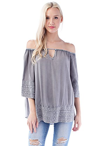 Solitaire Embroidered Eyelet Off-Shoulder Top (x-Large, Grey) - Eyelet Tunic Top