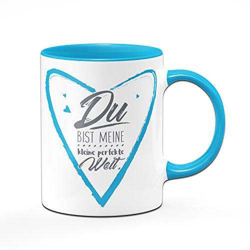 Herztasse Du bist meine kleine perfekte Welt - Tasse in blau - Kaffeetasse- Liebesgeschenk