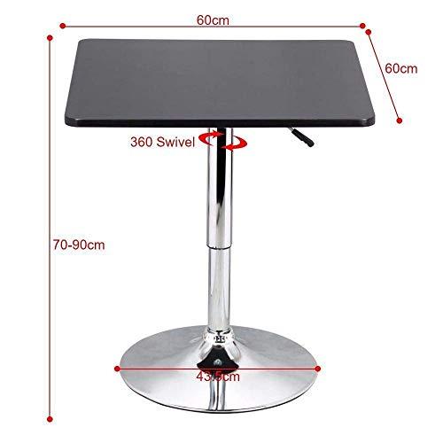 XQY Haushalt High-End Kleine runde Tabelle-Dreh Square Bar Pub-Tisch, zum Frühstück Coffee Bistro Cafe, 360 Grad drehbar, Mdf Top, einstellbare Höhe 70-90Cm - Runde Pub Höhe Tisch