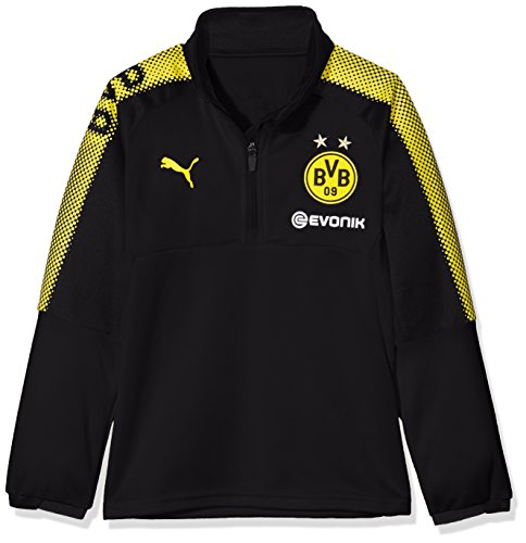 PUMA Kinder BVB 1/4 Training Top with Sponsor Logo T-Shirt Black-Cyber Yellow, 164