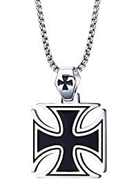 BOBIJOO Jewelry Pendentif Homme Croix de Fer Noire Acier Templier Malte  Iron Cross Biker+Chaîne d4bca495cb7