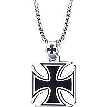 BOBIJOO Jewelry - Colgante De Hombre De La Cruz Pattee Acero Negro El Caballero Templario Malta