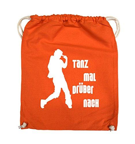 Comedy Bags - TANZ MAL DRÜBER NACH - FIGUR - Turnbeutel - 37x46cm - Farbe: Schwarz / Pink Orange / Weiss