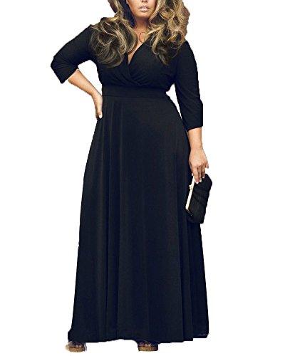 f3105270bf4 Damen Langarm V-Ausschnitt Wickelkleid Abendkleider Cocktailkleid Große  Größen Langes Kleid Schwarz L