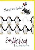 Din A4 XXL Abschiedskarte Lustige Pinguine
