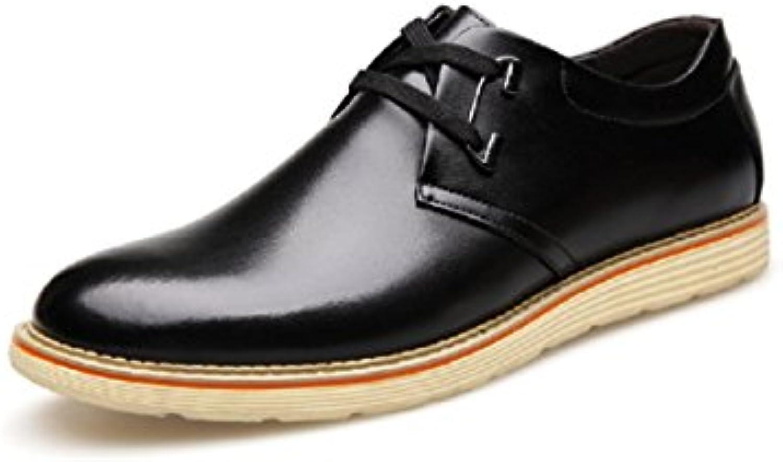 LYZGF Hombres Cuatro Estaciones Informal Moda Encaje Zapatillas De Deporte Zapatos De Cuero,Black-39  -