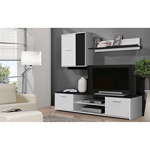 Finlandek meuble tv mural katso 160cm blanc et noir