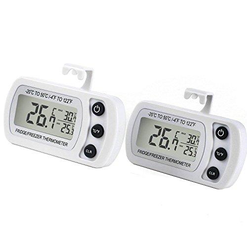 Unigear Kühlschrankthermometer, mit Haken, Anzeige mit MIN/MAX-. Speicherwerten, digitales Thermometer für Gefrierschrank Tiefkühltruhe Weinkühlschrank, wasserabweisend (Weiß-2 Stücke)