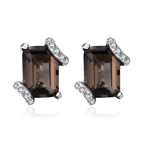 Jewelrypalace Graceful 1.6ct echte Rauch quarz Cluster Ohrstecker 925 Sterling Silber