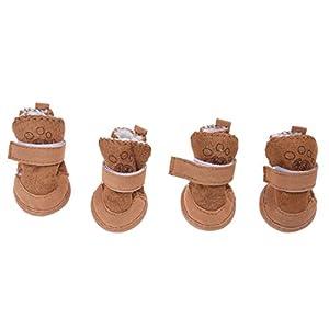 SODIAL(R) Bottes / chaussures de chien confortables et chaudes 4 # - Brun
