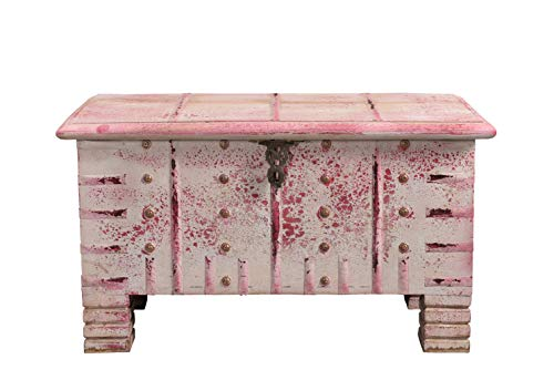 Reisetra Craft Rustic Hand Painted Pink Wooden Large Storage Box (Sandook) for Home   Somerset Chest/Trunk for Living Room Porch Outdoor Deck (15.50 Kilograms) (H: 80 L:40 W:46) cm