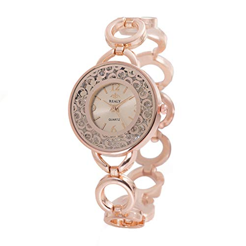 Giologre Uhren Damen Armbanduhr Metallquarz rundes Zifferblatt mit Diamant Damen Armbanduhr (Rosegold)