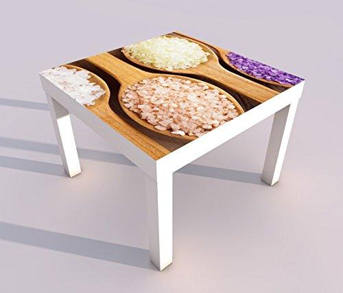 Salz Massage (Design - Tisch mit UV Druck 55x55cm Wellness Massage Meersalz Salz Spa Spieltisch Lack Tische Bild Bilder Kinderzimmer Möbel 18A433, Tisch 1:55x55cm)