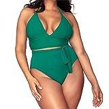 Sonnena Frauen sexy Sport Bikini Monokini Monochrom Badeanzug Split bademode Backless Elastische Triangel-Badehose Elegant Neckholder Zweiteilige Push Up Strandkleidung