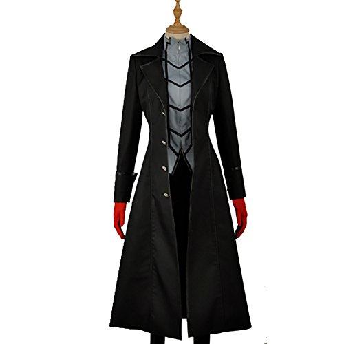 Protagonist Kostüm Halloween Herren Erwachsene Schwarzer Anzug Trenchcoat mit T-Shirt Hosen Cosplay Fancy Dress (Kostüm Schwarz Trenchcoat Halloween)