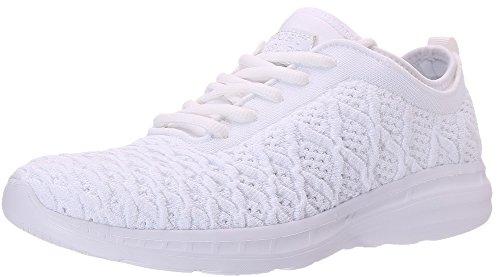 SEECEE Damen Sportschuhe Elegant Ultraleicht Atmungsaktiv Turnschuhe Sneaker Freizeitschuhe Frauen Jogger Schuhe Laufschuhe mit Schnürsenkel Weiß 40 EU