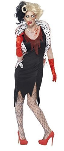 Damen Zombie Cruella de M Halloween Evil Madame Hund Lady 101Dalmatians Fancy Kleid Kostüm Outfit 8-18